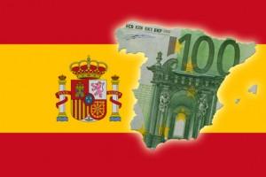 Spanische Flagge mit Euroschein