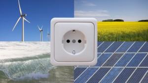 Eine Steckdose und dahinter Möglichkeiten für saubere Energien